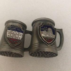 Two prewter souvenir cups D.C. & Boone Hall S.C.